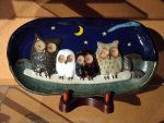 月夜のフクロウ家族