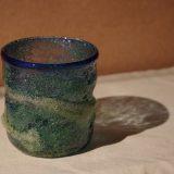 琉球硝子 青緑ロックグラス