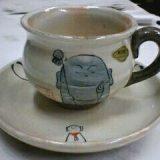 微笑み地蔵一客コーヒー碗皿