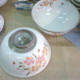 清水焼 色絵桜組飯碗