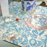 ガラス製平茶碗(ドット・一珍)