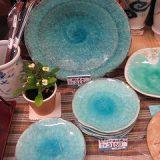 ブルーかいらぎ銘々皿揃と盛皿