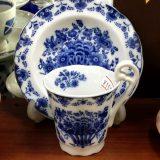 青い花かごデミタスコーヒー碗皿