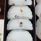 深川製磁 花ひょうたん菊中割小皿揃(5枚セット)